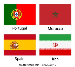 Portugal, Morocco, Spain, Iran. Set of vector national flags icons isolated on white background. Proportion 2:3.