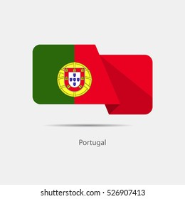 Portugal national flag on a white background with shadow. vector illustration