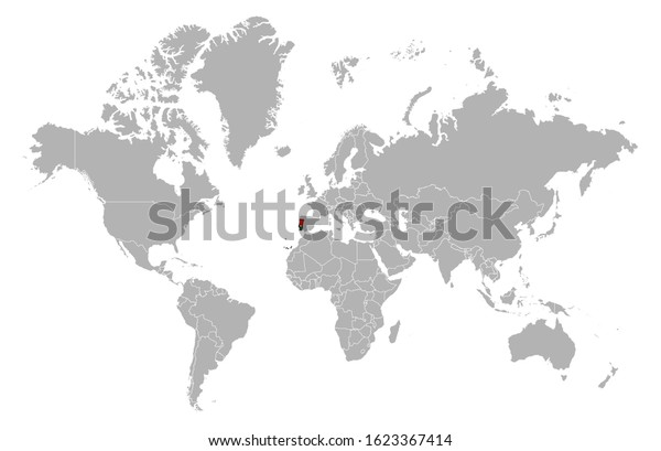 Portugal On Detailed World Map Overlay Stock Vector Royalty Free 1623367414
