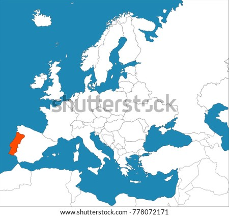 Portugal On Europe Map Stock Vector (Royalty Free) 778072171 ...