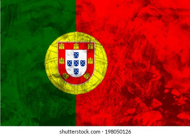 Portugal, Portuguese flag on concrete textured background
