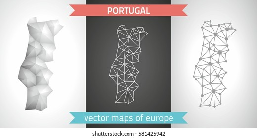 Portugal. Set graphic vector maps of Portugal, polygonal, grey, mosaic, triangle illustrations