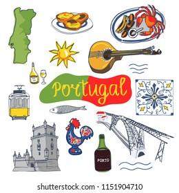 Portugal. Set of portuguese elements - fado guitar, tram, tiles azulejo, port wine, sardines, seafood, map, sunshine, Belem tower, rooster, Dom Luís I Bridge, pastel de nata. Vector illustrations
