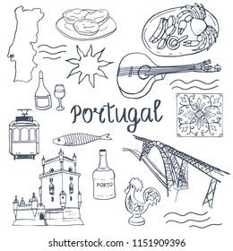 Portugal. Set of portuguese elements - fado guitar, tram, tiles azulejo, port wine, sardines, seafood, map, sunshine, Belem tower, rooster, Dom Luís I Bridge, pastel de nata. Hand drawn illustrations