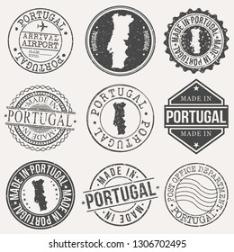 Portugal Set of Stamps. Travel Stamp. Made In Product. Design Seals Old Style Insignia.
