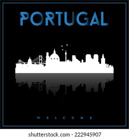 Portugal, skyline silhouette vector design on parliament blue and black background.