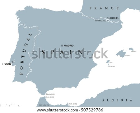 Portugal Spain Political Map Capitals Lisbon Stock Vector Royalty