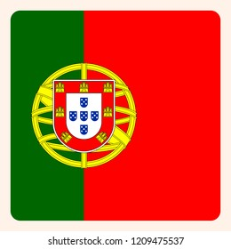 Portugal square flag button, social media communication sign, business icon.