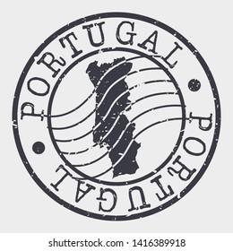 Portugal Stamp Postal. Map Silhouette Seal. Passport Round Design. Vector Icon. Design Retro Travel.
