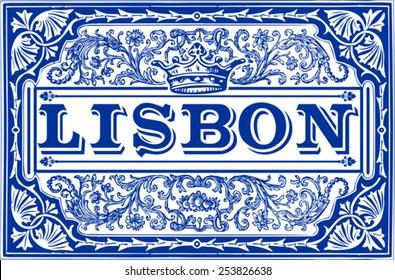 Portugal Tile Lisbon Pattern Spanish Azulejos Lisboa Vector Blue Ceramic Collection Ceramic Blue Vector Lisboa Azulejo Spanish Pattern Lisbon Tile Portugal Illustration background Vector