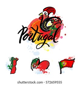 Portugal The Travel Destination logo . Illustration of decorated Barcelos rooster symbol. hand-drawn lettering with watercolor elements