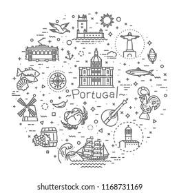 Portugal travel icons set