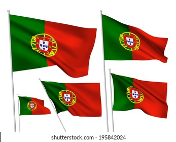 Portugal vector flags set. 5 wavy 3D pennants fluttering on the wind. EPS 8 created using gradient meshes isolated on white background. Five fabric flagstaff design elements from world collection