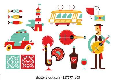Portugal vector icon set simple modern symbols