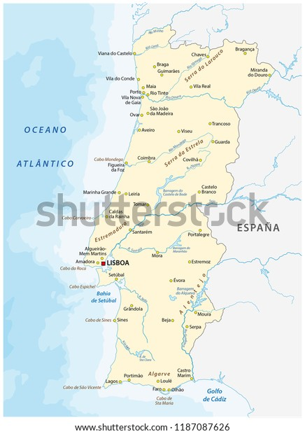 Portugal Vector Map Major Cities Rivers Stock Vector ... on portugal on map, portugal spain map, portugal industries map, portugal rivers map, portugal travel map, portugal airports map, portugal country map, portugal politics, portugal map europe, portugal deserts map, portugal weather map, portugal food map, portugal regions map, portugal capital map, portugal terrain map, portugal geography map, portugal tourism map, portugal mountains map, portugal districts map, portugal religion map,