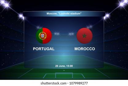 Portugal vs Morocco football scoreboard broadcast graphic soccer template