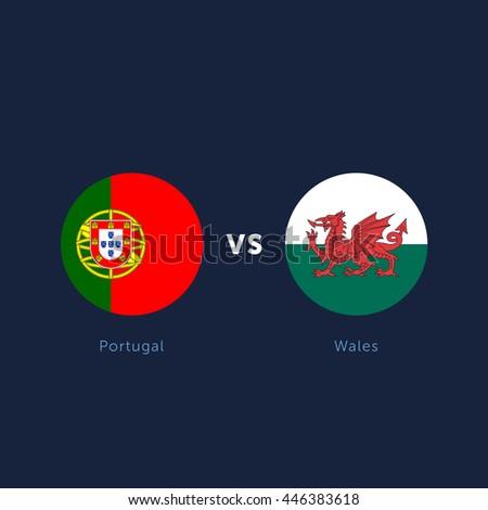Portugal Vs Wales Soccer Football Vector Stock Vektorgrafik
