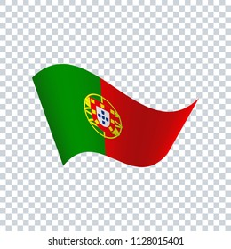 Portugal wavy flag. Icon on transparent background. Vector illustration