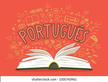 """Portugues. Presente, o verbo, oi!, mas, eu, O que?, um, uns, uma, umas. Translate:"""" Portuguese. Present, the verb, hi !, but, I, What ?, one"""". Open book with language hand drawn doodles."""