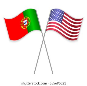 Portuguese and American crossed flags. Portugal combined with United States of America isolated on white. Language learning, international business or travel concept.