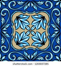 Portuguese azulejo ceramic tile. Ethnic folk ornament. Mediterranean traditional ornament. Italian pottery, mexican talavera or spanish majolica.