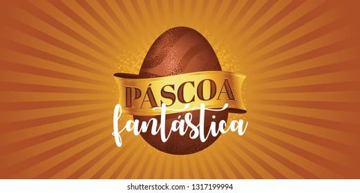 Portuguese brazilian title saying fantastic easter. Easter design, golden easter logo elements, colorful ribbons. Vector illustration greeting card, ad, poster, flyer, web-banner, promotion