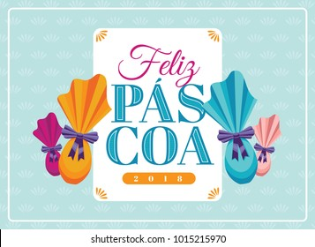 Portuguese brazilian title saying happy easter. Easter design, golden easter logo elements, colorful ribbons. Vector illustration greeting card, ad, poster, flyer, web-banner, promotion