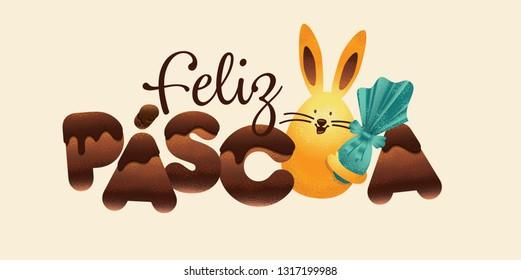 Portuguese brazilian title saying happy easter. Easter design, golden easter logo elements, colorful ribbons. Vector illustration greeting card, ad, poster, flyer, web-banner, promotion