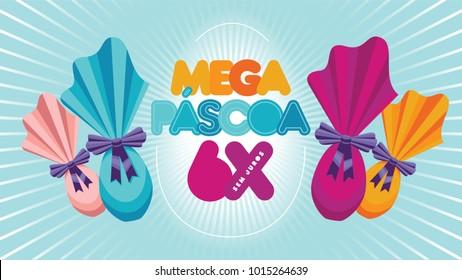 Portuguese brazilian title saying mega easter. Easter design, golden easter logo elements, colorful ribbons. Vector illustration greeting card, ad, poster, flyer, web-banner, promotion