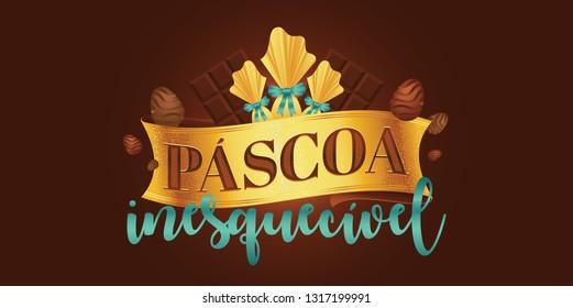 Portuguese brazilian title saying unforgettable easter. Easter design, golden easter logo elements, colorful ribbons. Vector illustration greeting card, ad, poster, flyer, web-banner, promotion