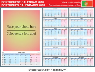 Portuguese calendar 2018. Vector Template with Place for Photo. Week Starts Monday.