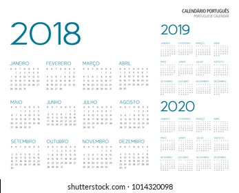 portuguese calendar grid 2018 2019 2020 vector illustration outline font is Armata