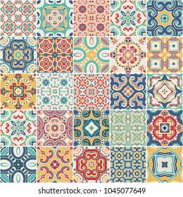 portuguese color tiles azulejos. Abstract background. Vector hand drawn illustration, typical portuguese ceramic tiles. Seamless pattern.