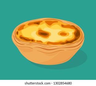 Portuguese custard tart - pastel de nata. Traditional portuguese pastry created in the civil parish of Santa Maria de Belem, Lisbon.  Vector hand drawn illustration.
