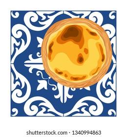 Portuguese custard tart - pastel de nata placed on ceramic azulejo tiles. Traditional portuguese pastry created in the civil parish of Santa Maria de Belem, Lisbon. Vector hand drawn illustration.