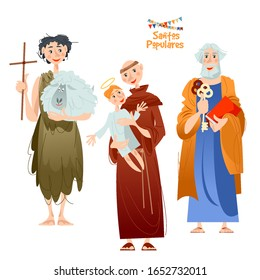 "Portuguese festival ""Santos Populares"" (Popular Saints). Santo Antônio, São João, São Pedro (Saint Anthony, Saint John, Saint Peter). Vector illustration."