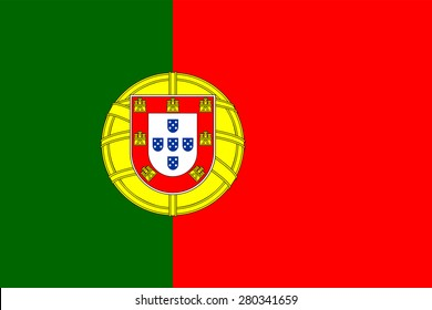 Portuguese flag. Official state symbol of the country. Correct proportions and colors. Consists of red and green rectangles heraldic shield. Can be used to refer Portugal on the maps.