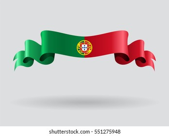 Portuguese flag wavy abstract background. Vector illustration.