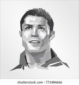 Portuguese Footballer Cristiano Ronaldo vector isolated portrait stylized illustration