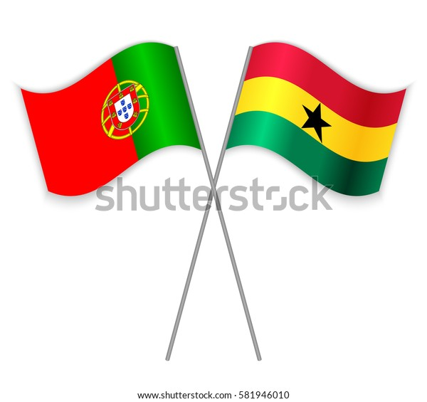 Portuguese and Ghanaian crossed flags. Portugal combined with Ghana isolated on white. Language learning, international business or travel concept.