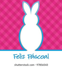 Portuguese Happy Easter Bright Bunny Cut Out Card In Vector