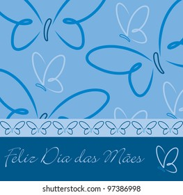 Portuguese Happy Mother's Day butterfly card in vector format.