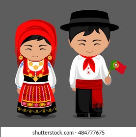 Portuguese in national dress with a flag. Man and woman in traditional costume. Travel to Portugal. People. Vector flat illustration.