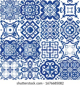 Portuguese ornamental azulejo ceramic. Fashionable design. Collection of vector seamless patterns. Blue vintage backdrops for wallpaper, web background, towels, print, surface texture, pillows.