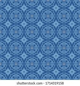 Portuguese ornamental azulejo ceramic pattern seamless vintage tiles, Traditional ornate portuguese decorative blue tiles azulejos.  ideal for greeting card banner or wallpaper design.