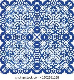 Portuguese ornamental azulejo ceramic. Vector seamless pattern illustration. Kitchen design. Blue vintage backdrop for wallpaper, web background, towels, print, surface texture, pillows.
