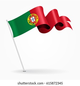 Portuguese pin icon wavy flag. Vector illustration.