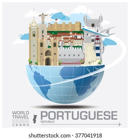 Portuguese Republic Landmark Global Travel And Journey Infographic Vector Design Template