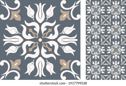 Portuguese and Spain decor. Ceramic tile. Seamless Azulejo tile. Vector hand drawn illustration, typical portuguese and spanish tile