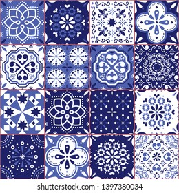 Portuguese or Spanish Azujelo vector seamless tiles design - Lisbon retro navy blue pattern, tile big collection. Ornamental textile background inspired by indigo Spanish and Portuguese art